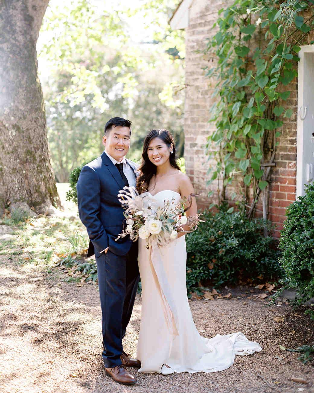 linda robert wedding couple smile