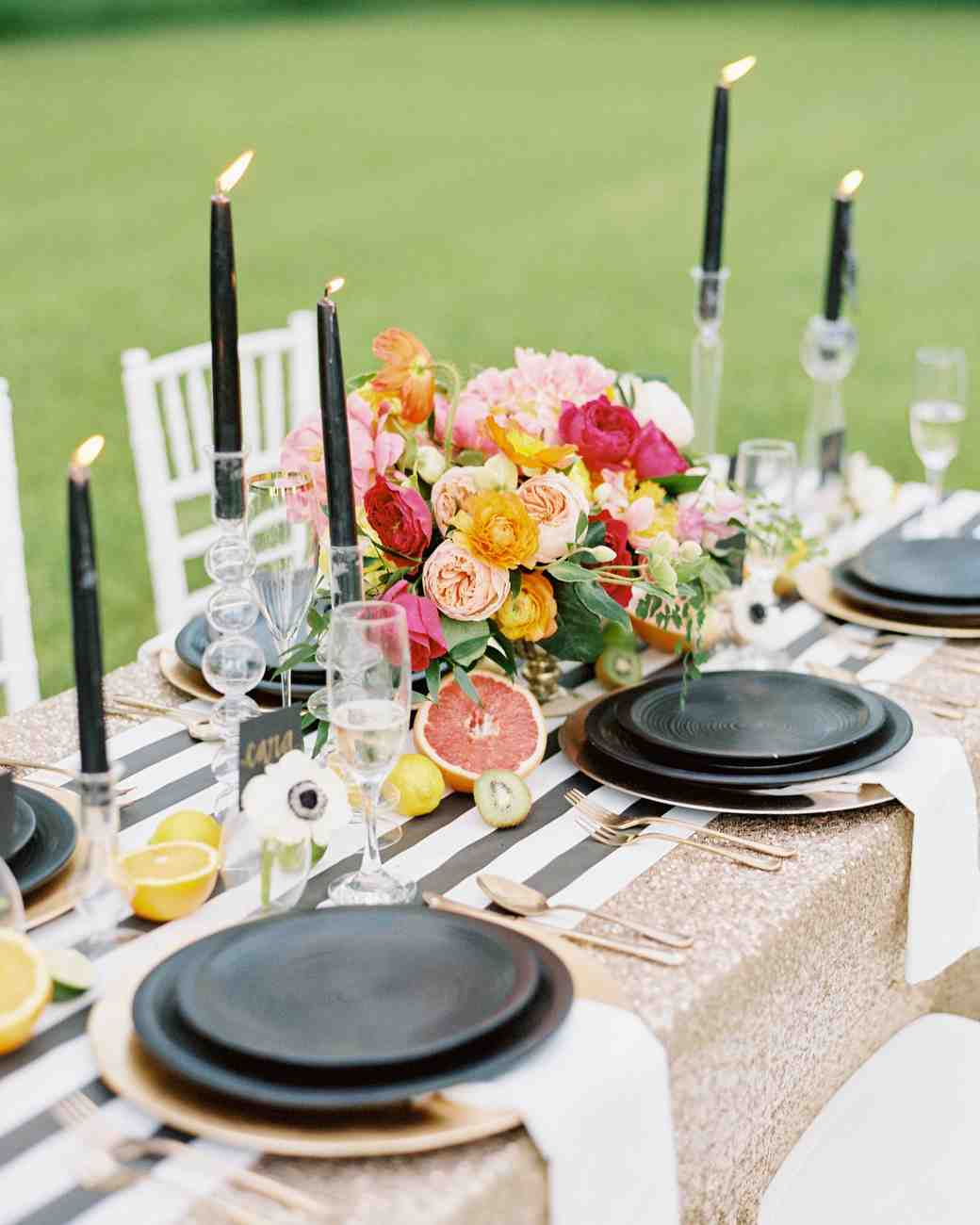 Modern wedding centerpieces martha stewart weddings modern black white and bright wedding centerpiece mightylinksfo