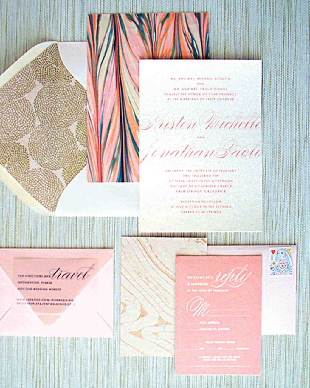 8 tips for diying your wedding invites martha stewart weddings for Wedding invitations wording martha stewart