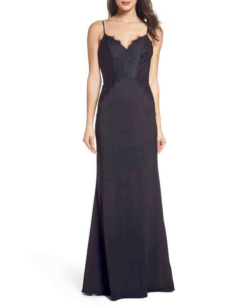 Hayley Paige Occasions Lace and Crepe Trumpet Gown