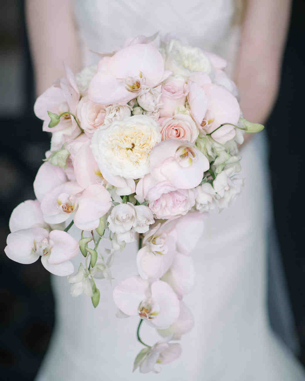 Pale pink trailing orchid wedding bouquet