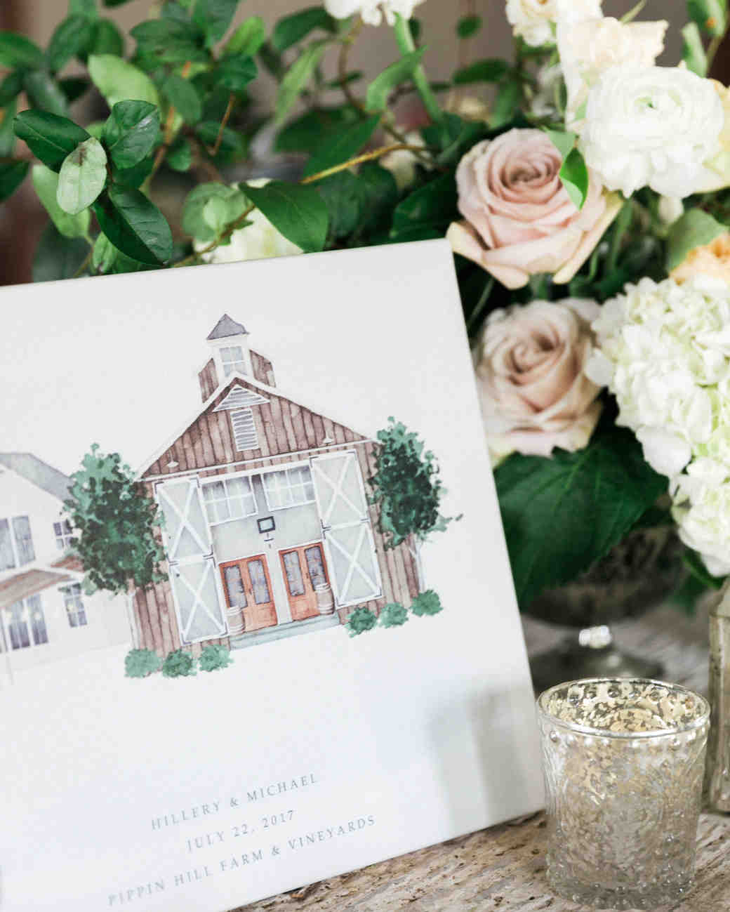 wedding illustrated barn venue signage flowers candle