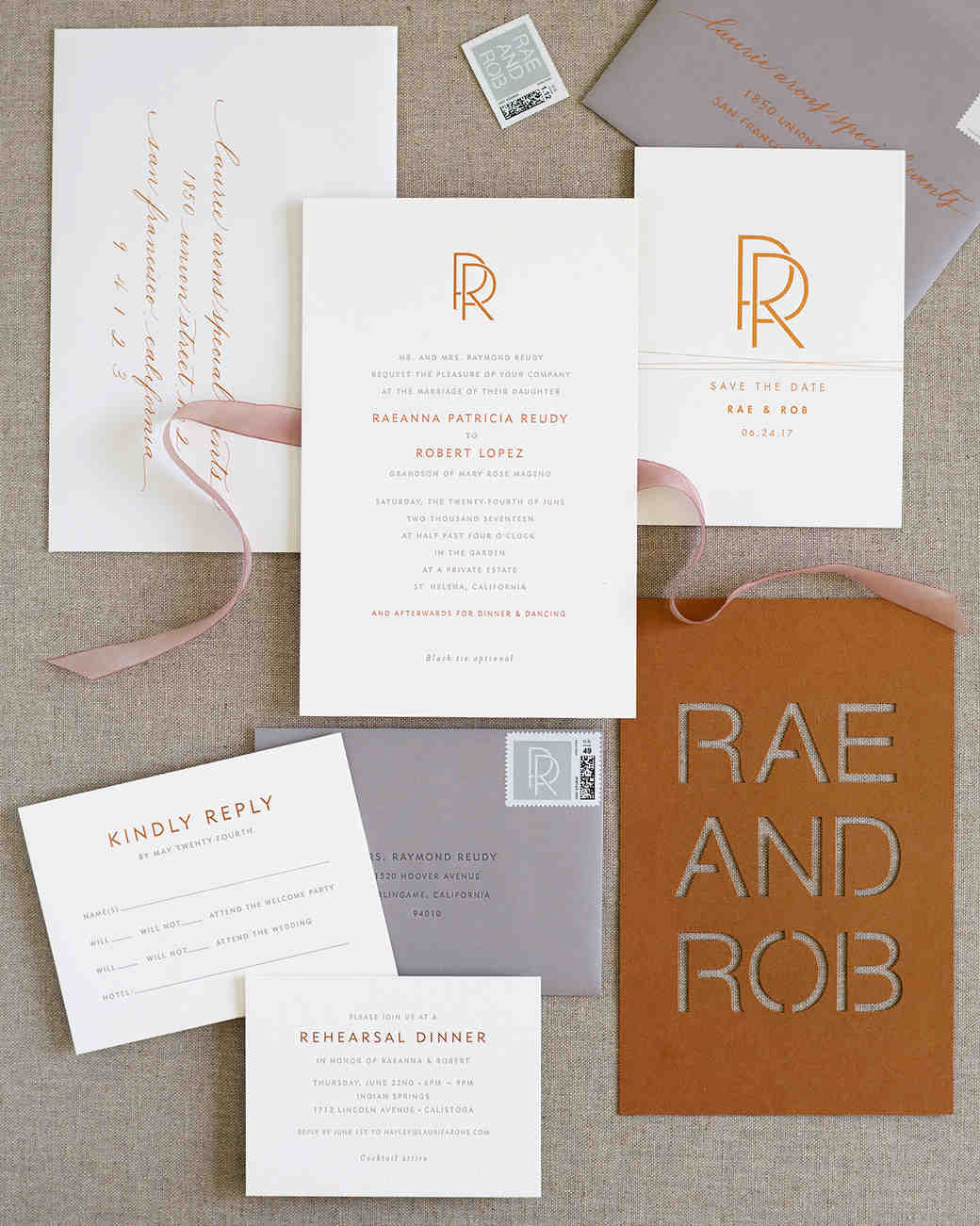 rae rob wedding casual stationery