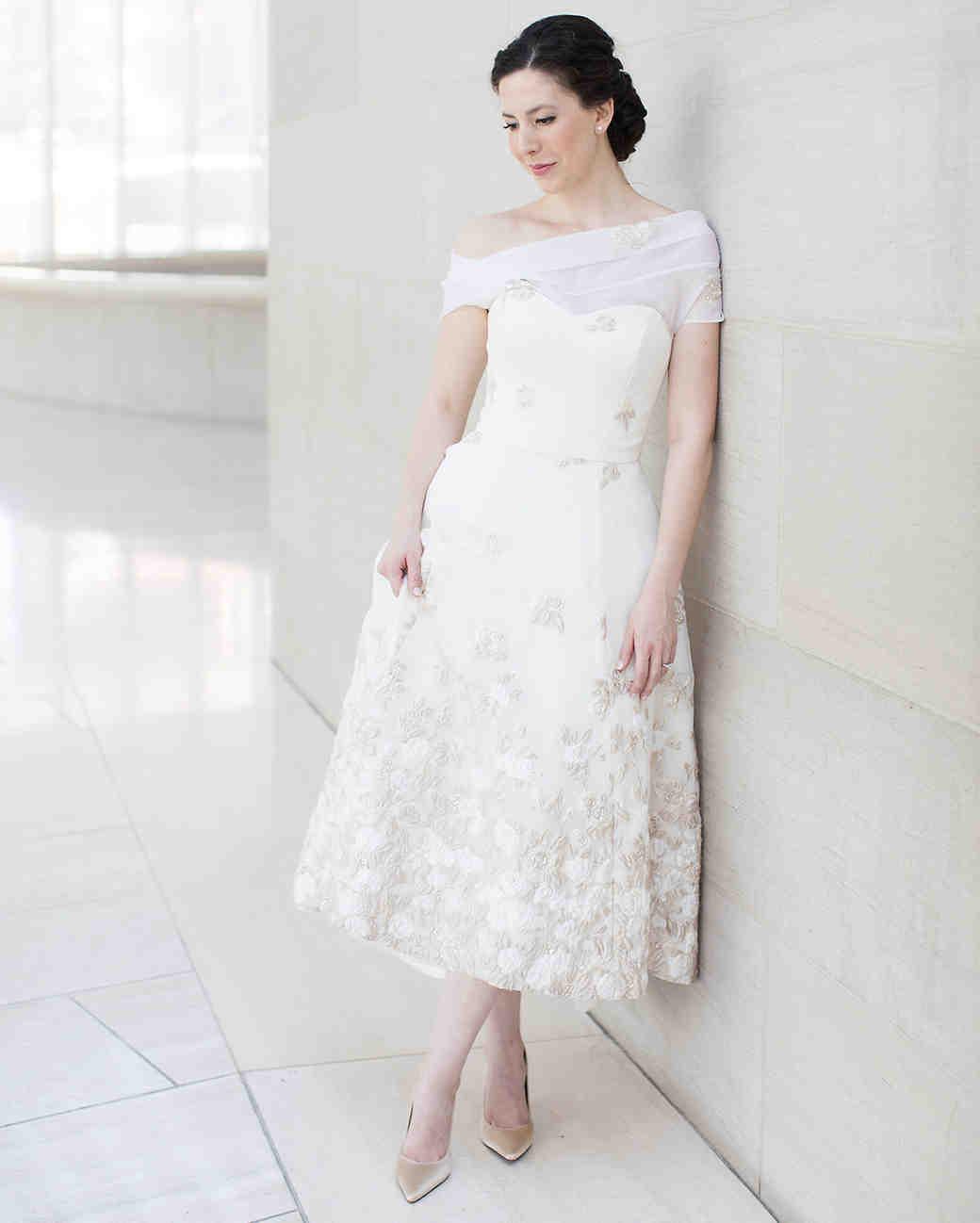 Wedding Reception Dresses Oneshoulder Tea Length Gown: Chagne Sequined Wedding Dress At Reisefeber.org