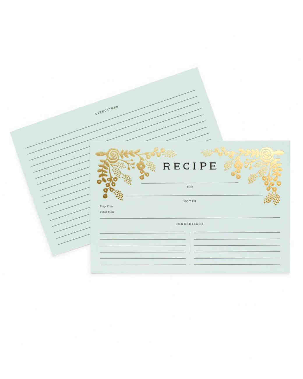 Garden Delight Golden Recipe Cards
