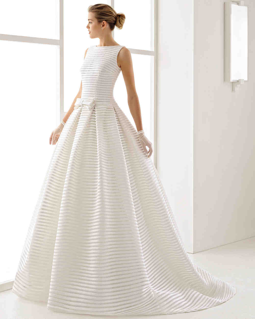 Preppy Sleeveless Striped Wedding Gown