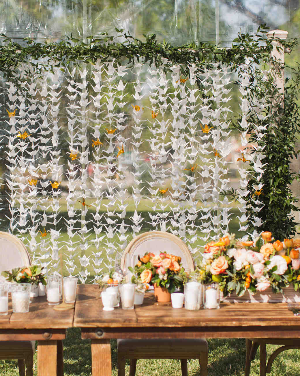 A sunny citrus themed california wedding martha stewart for 1000 paper cranes wedding decoration