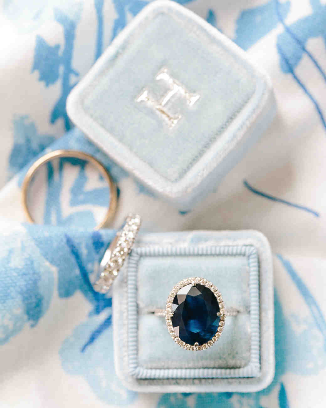 something blue  sapphire engagement ring blue ring box