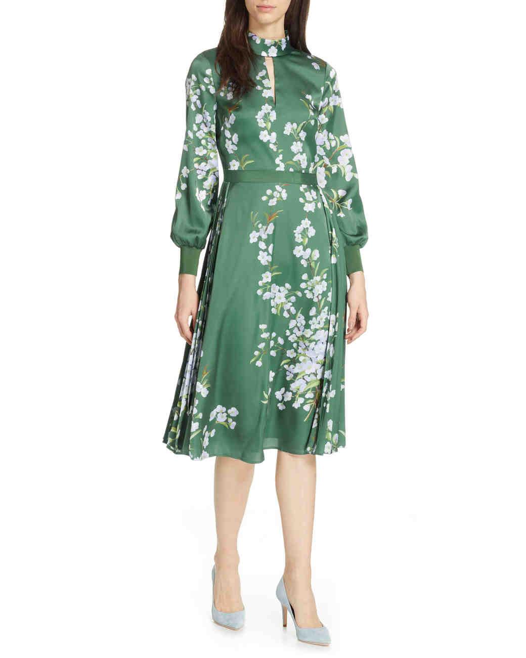 Green floral frock satin A-Line midi dress
