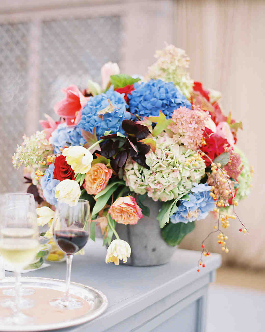 Blue, white and pink hydrangea wedding centerpiece