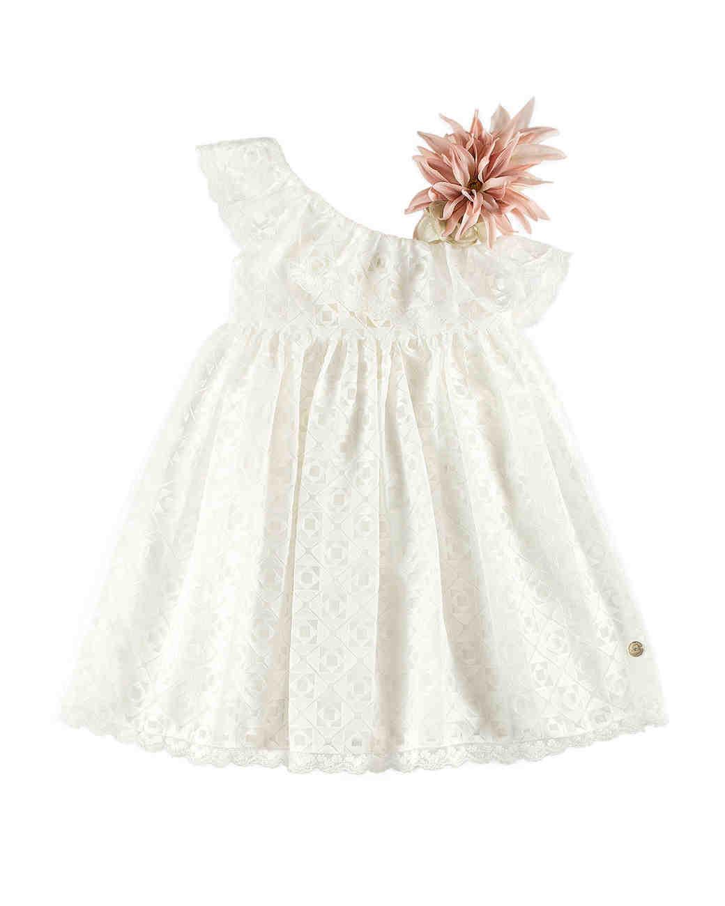 summer flower girl dress white pink flower