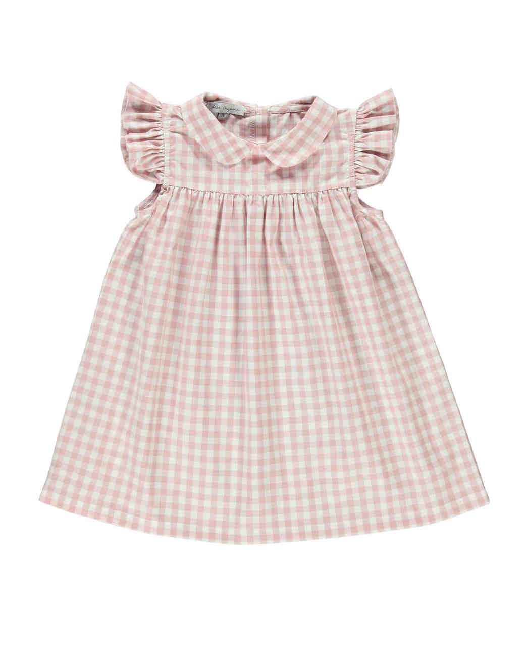 summer flower girl outfit pink checkered dress