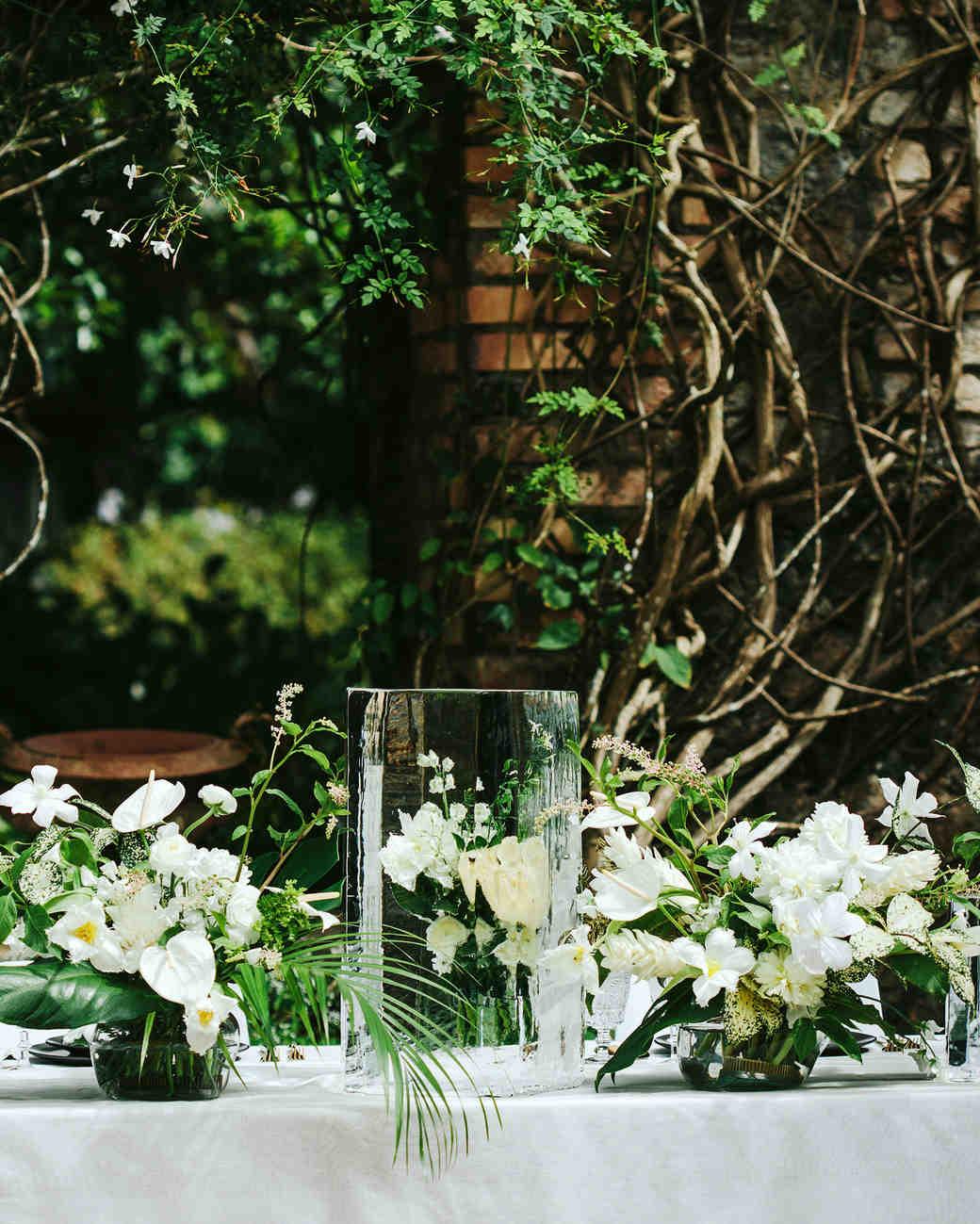 wedding ice sculpture frozen flowers