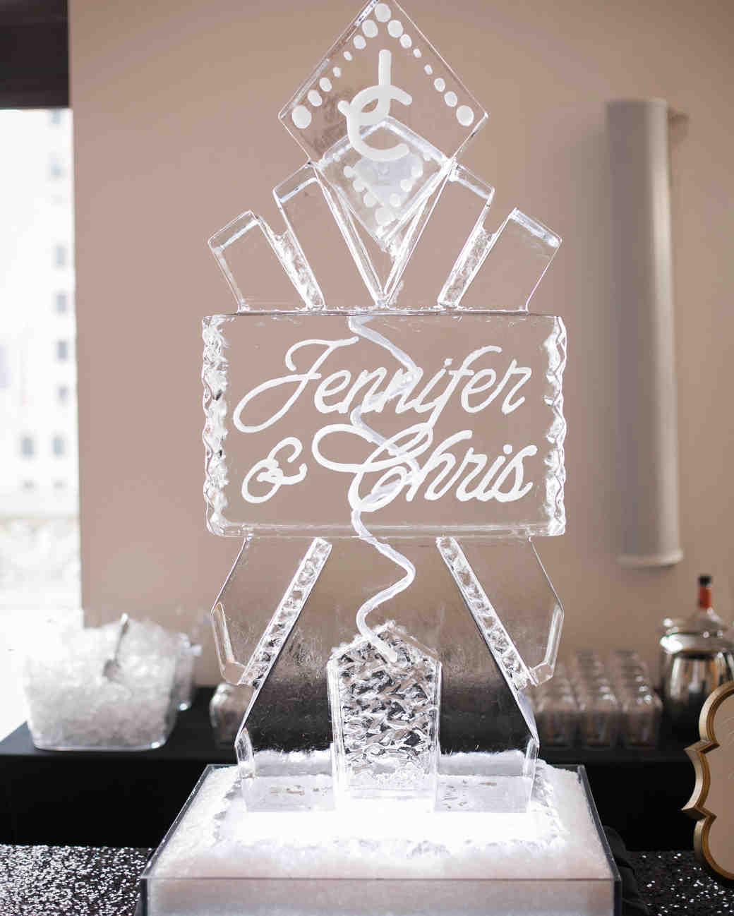 wedding ice sculpture bride and groom names