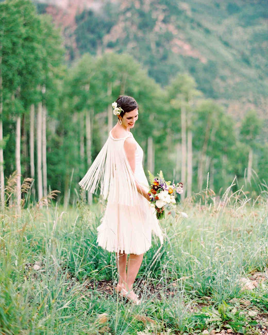 Short Fringed-Back Wedding Dress