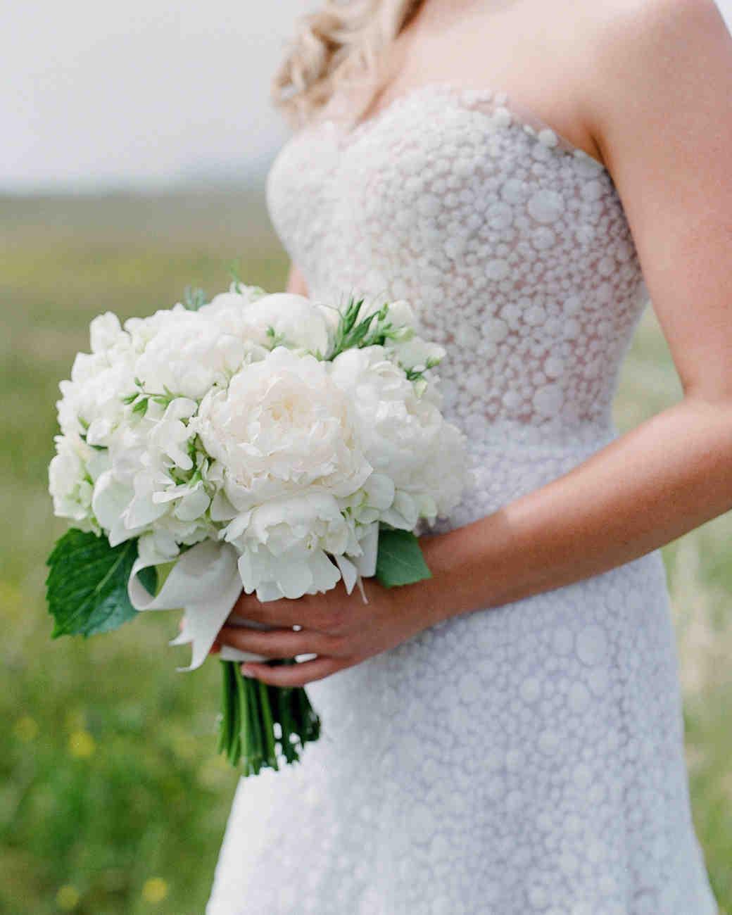 whitney zach wedding bride bouquet white peonies