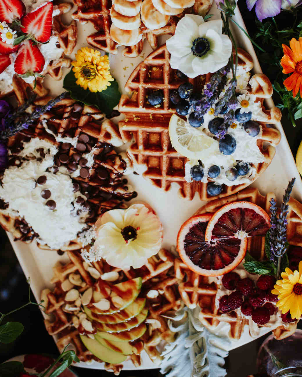 winter bridal shower waffle bar