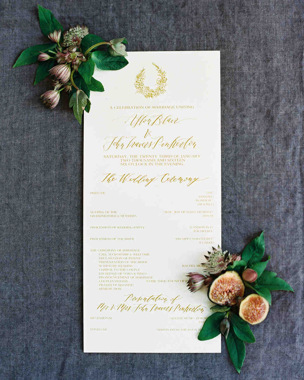 afton travers wedding program