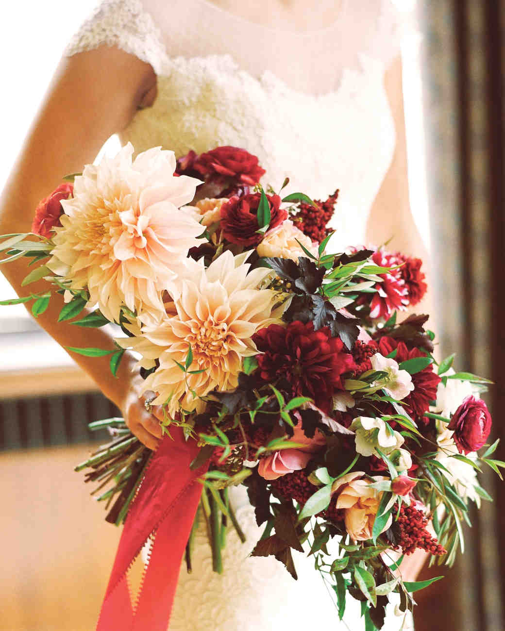 Red and Cream Dahlia Wedding Bouquet