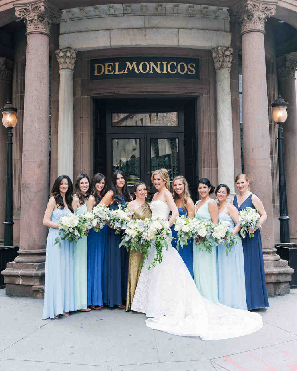 41 reasons to love the mismatched bridesmaids look martha stewart mismatched blue bridesmaid dresses ombrellifo Gallery