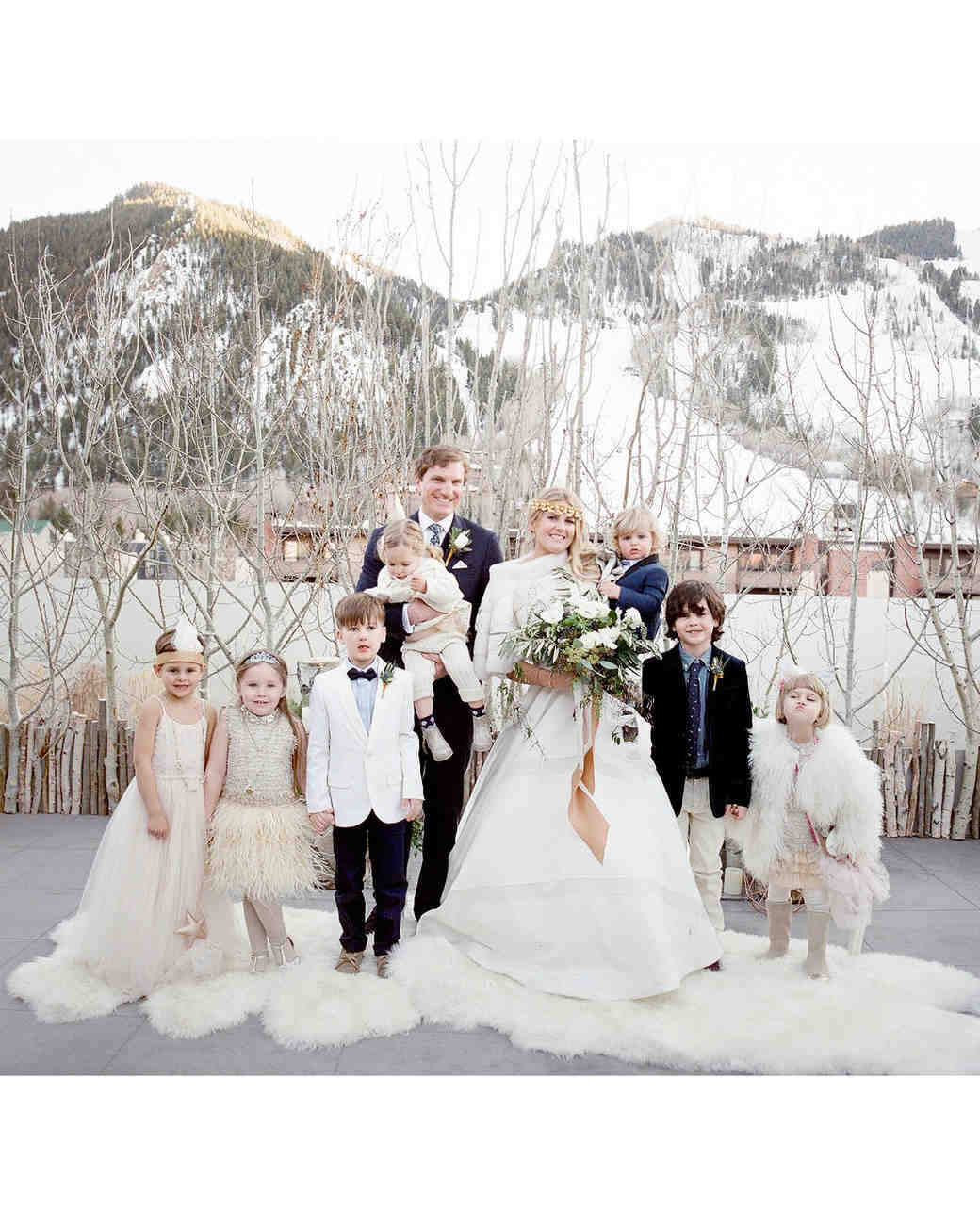 wedding couple with kids