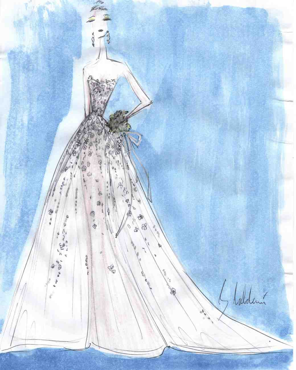 azul by liancarlo wedding dress sketch