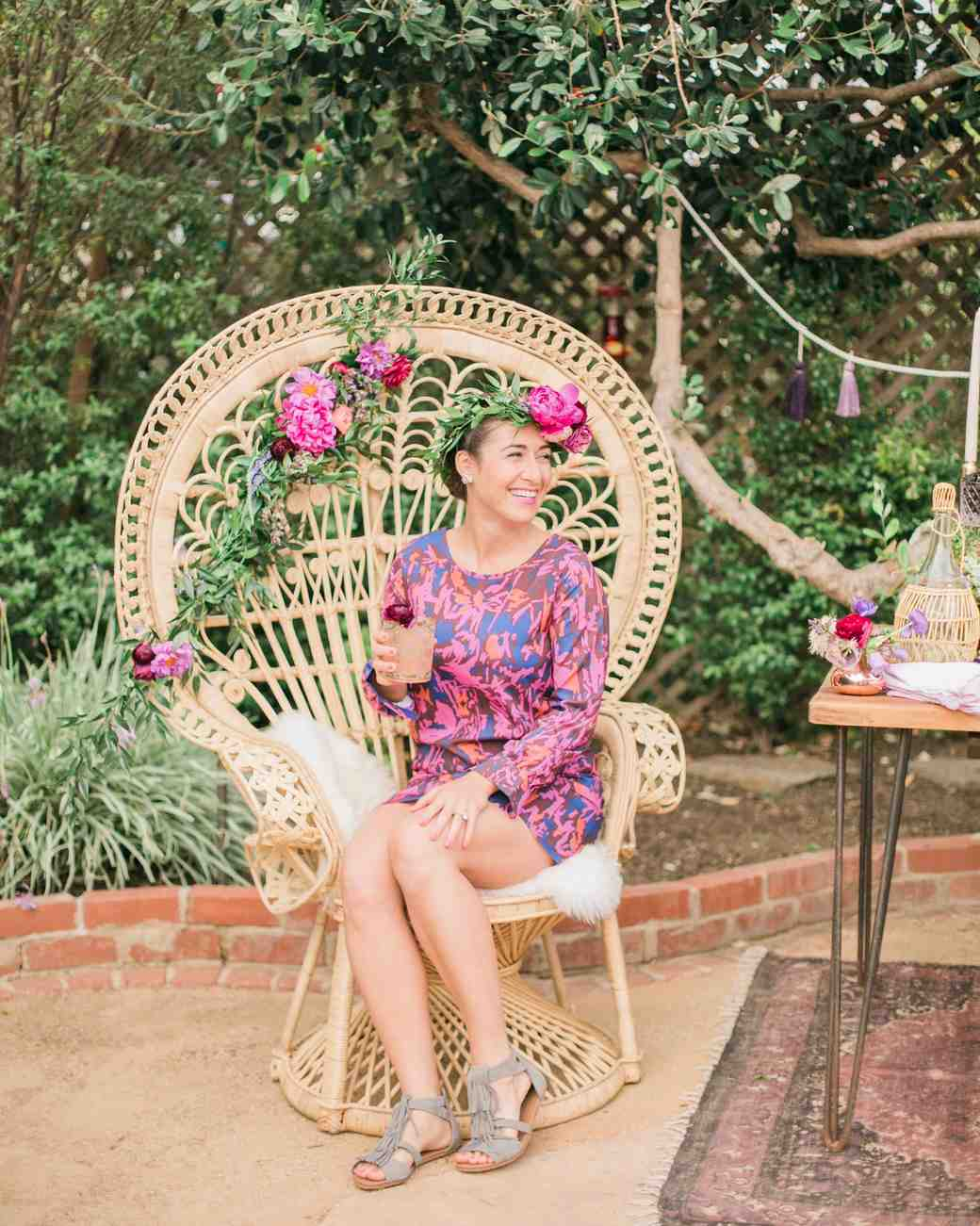 boho chic bachelorette party bride chair