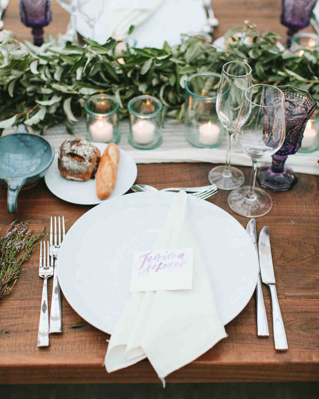 place setting with side plate of bread
