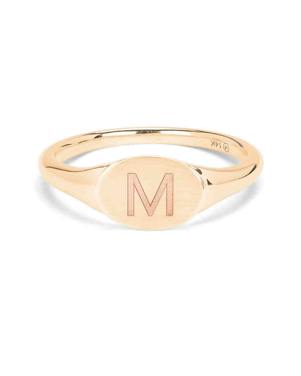 bridesmaid gift mejuri gold signet ring M