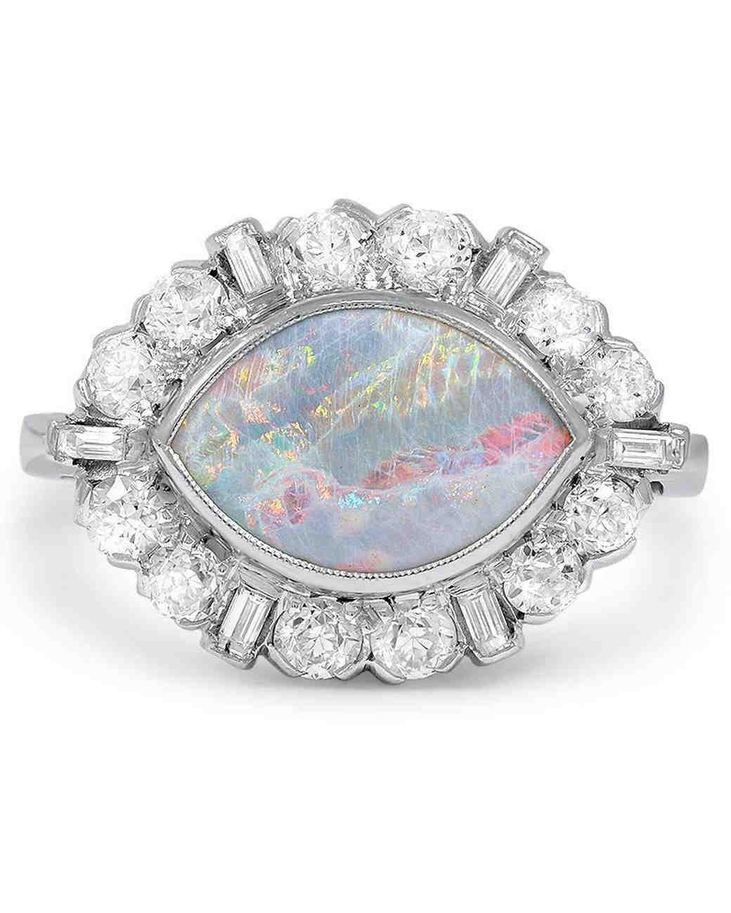 opal engagement rings that are oh so dreamy martha stewart weddings - Opal Wedding Ring