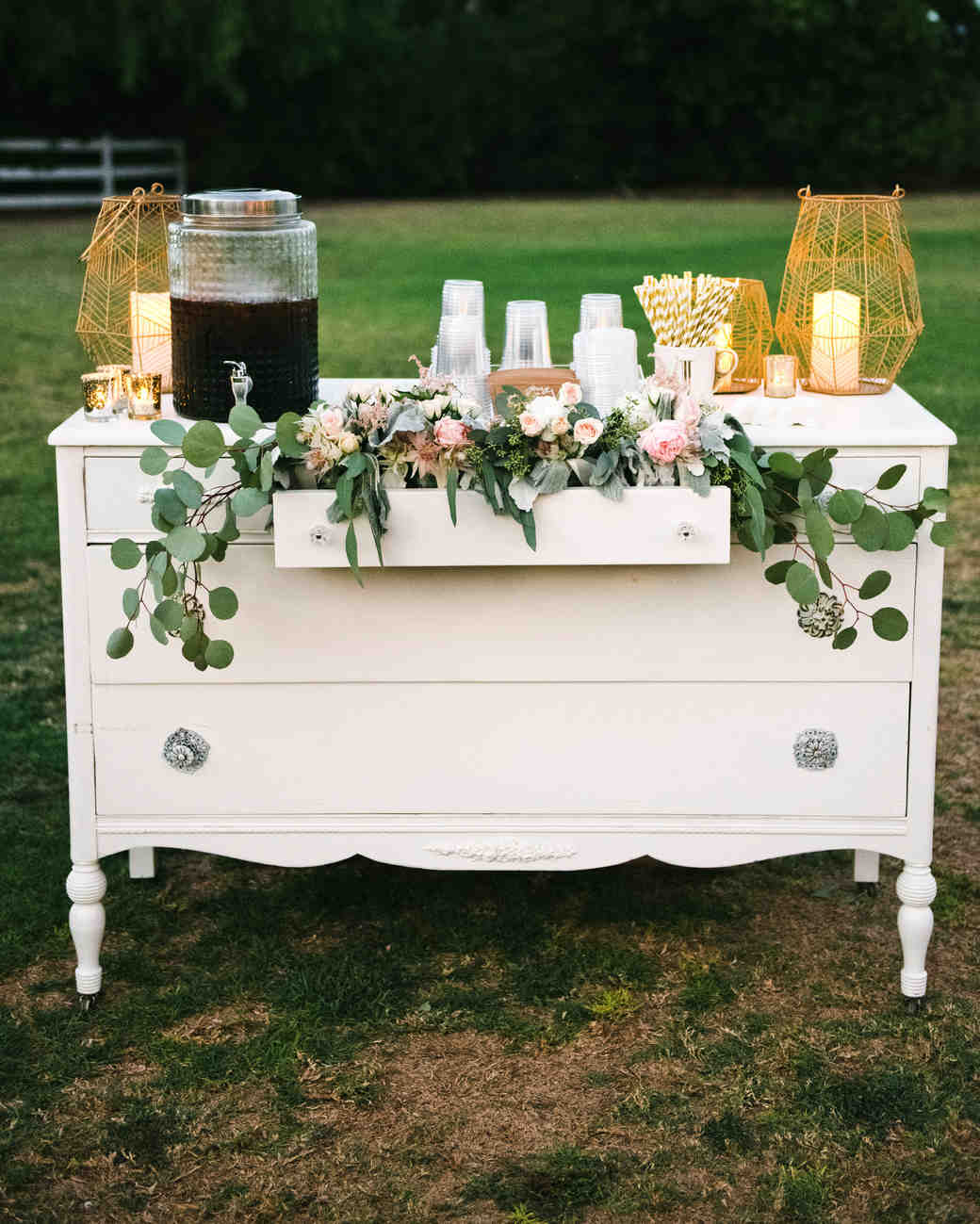 coffee wedding ideas decorative dresser as table with iced coffee and cups
