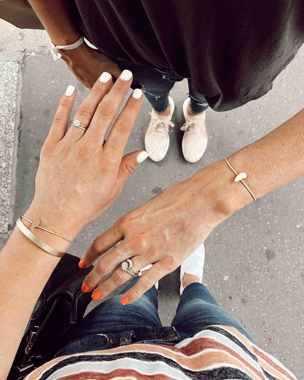 engagement ring selfie best friends showing rings together