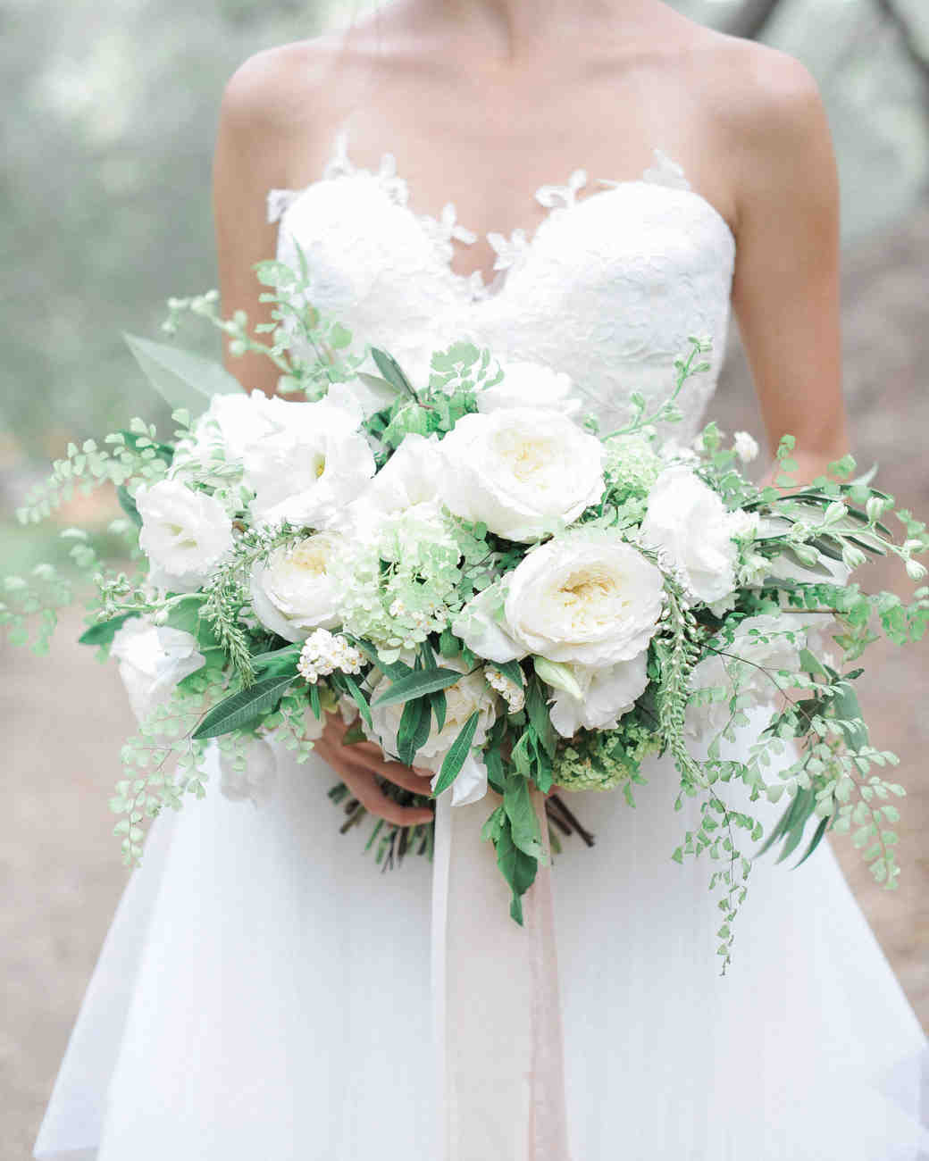 20 stunning wedding bouquets with ferns martha stewart weddings fern wedding bouquet with roses junglespirit Gallery