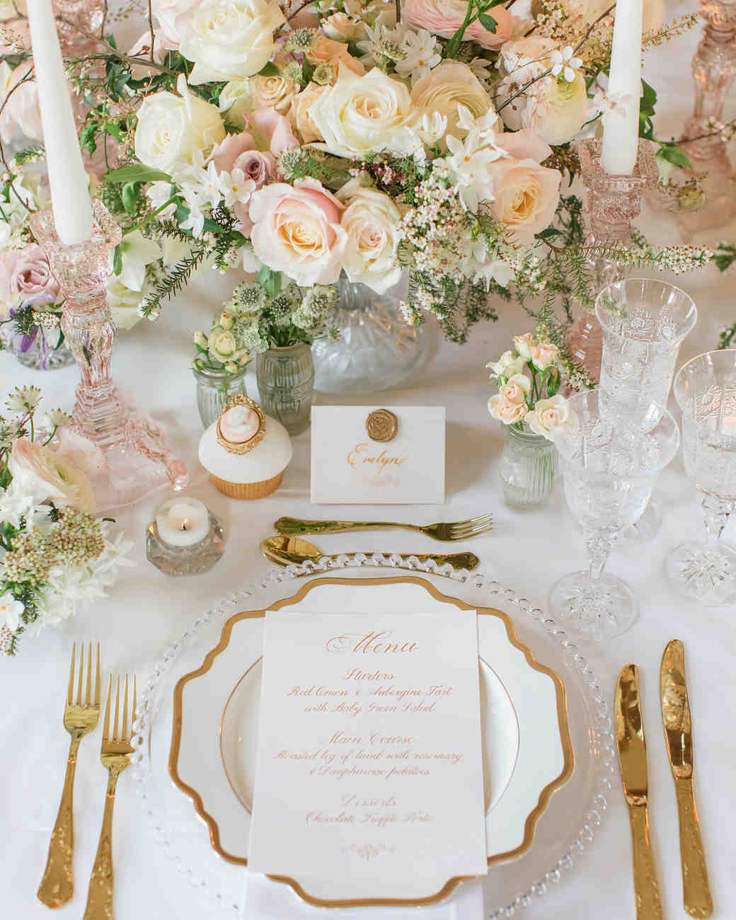 glamorous wedding ideas elevated centerpiece table setting