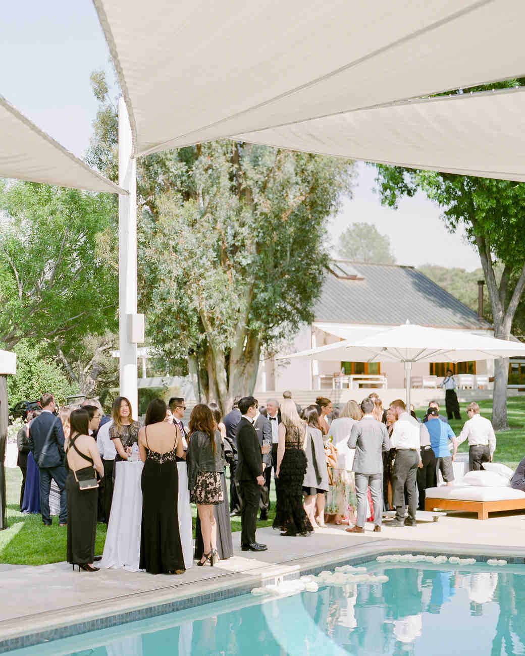 grace ceron wedding guests pool