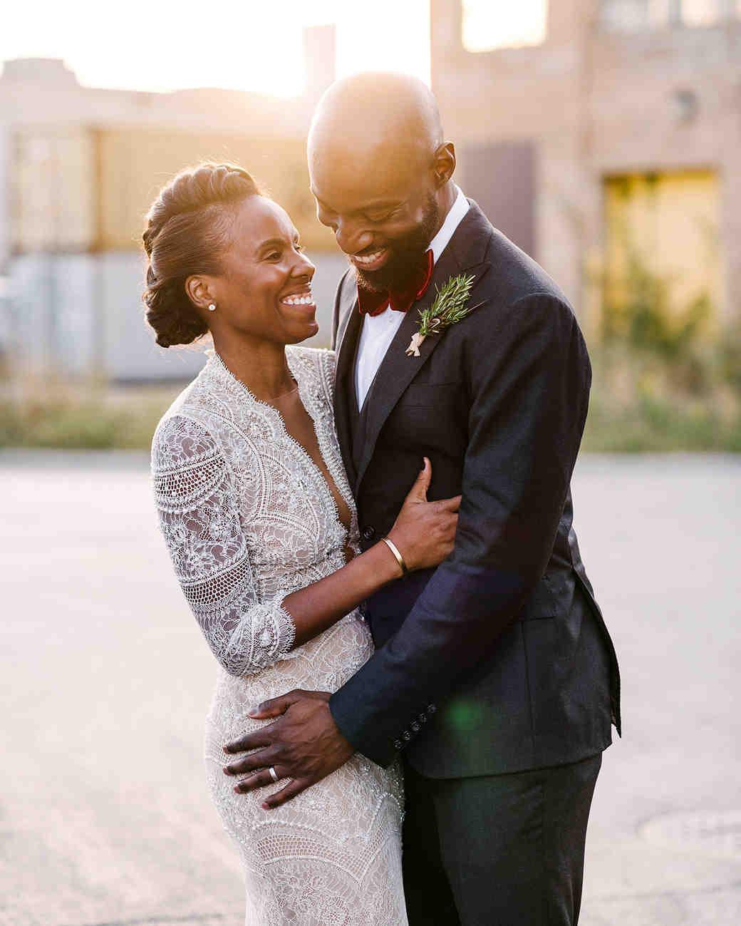 bride with modern center braid updo