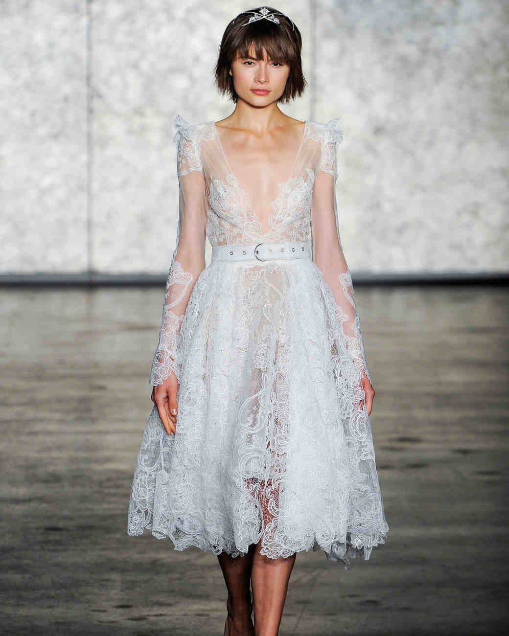inbal dror fall 2018 lace long sleeve belted wedding dress