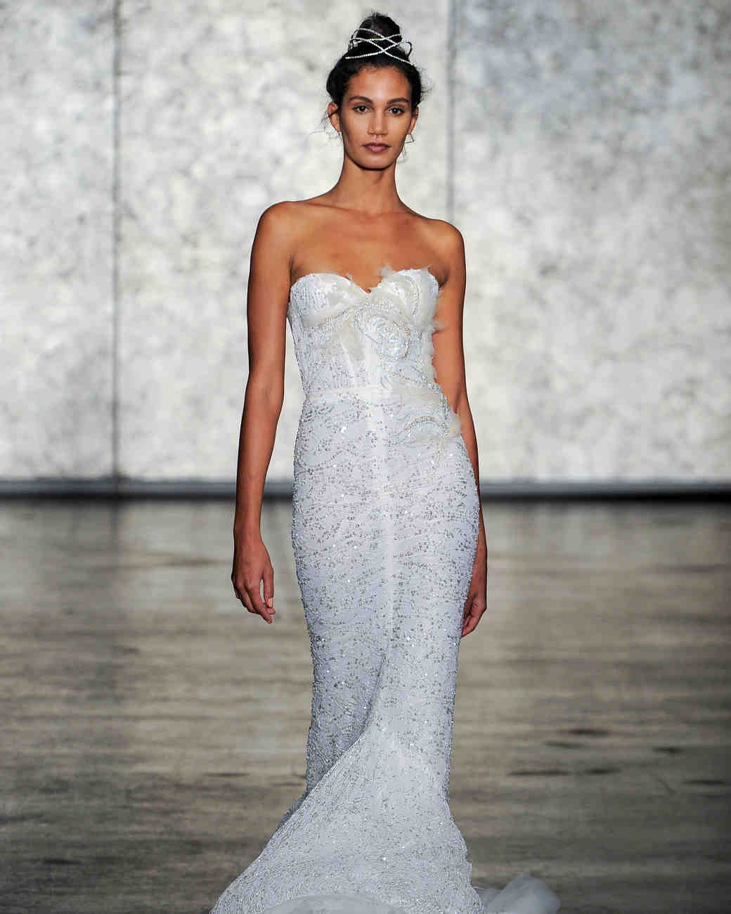 inbal dror fall 2018 lace sweetheart feather wedding dress