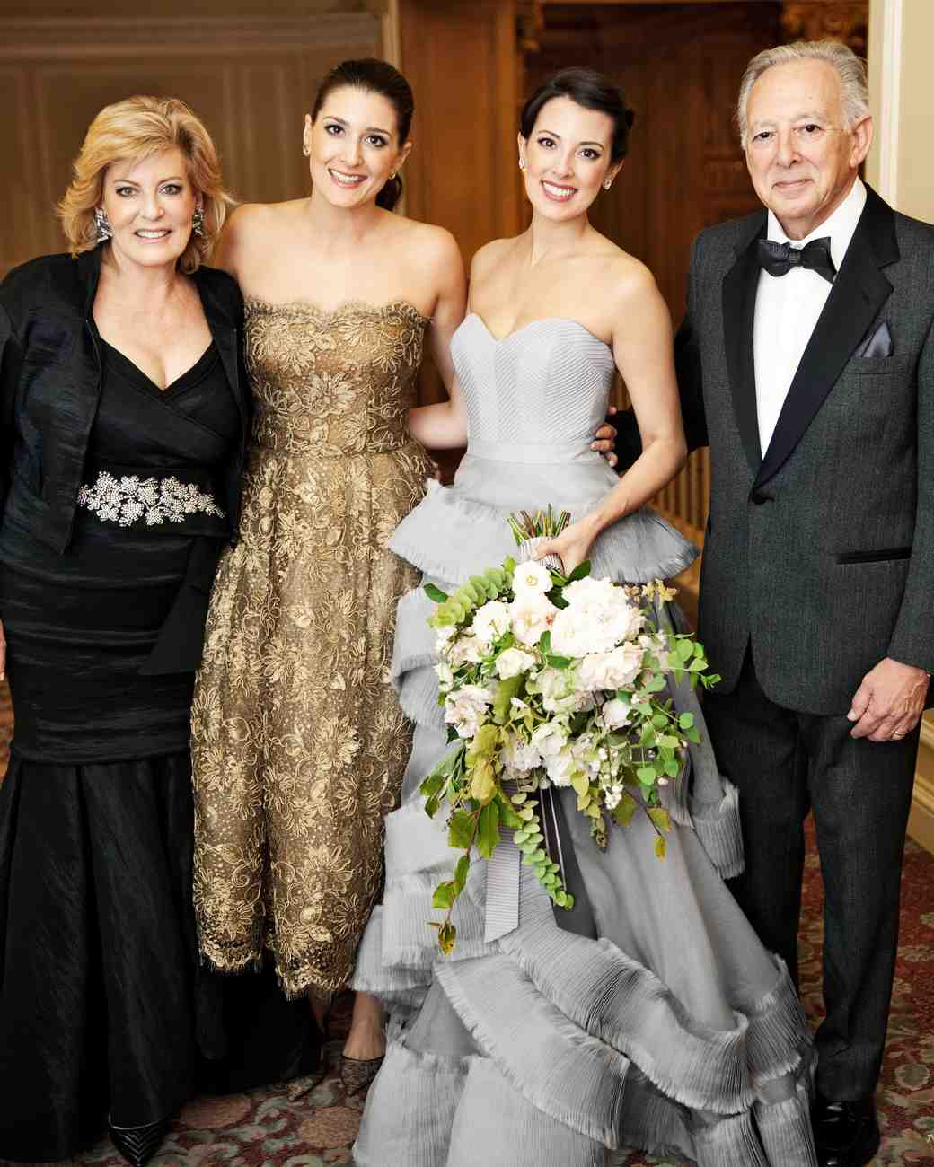 Gray Wedding Dress and Gold Bridesmaid Dress