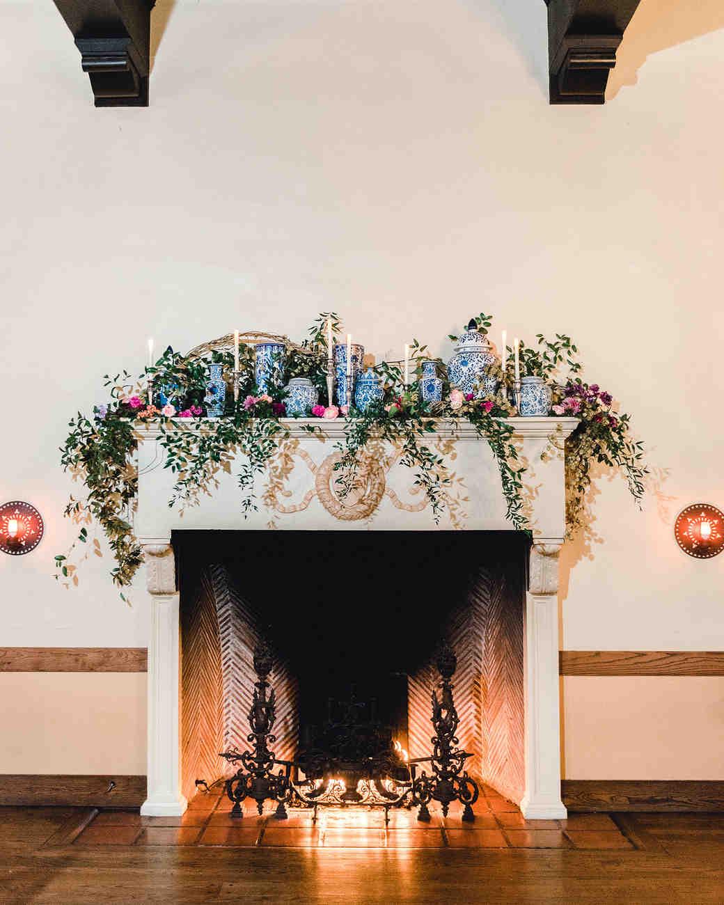 johanna erik wedding reception fireplace