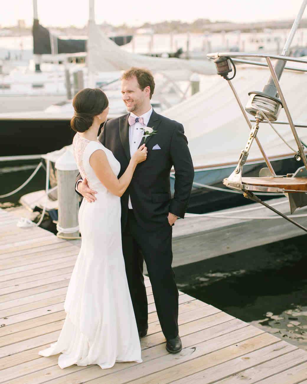 wedding couple on dock