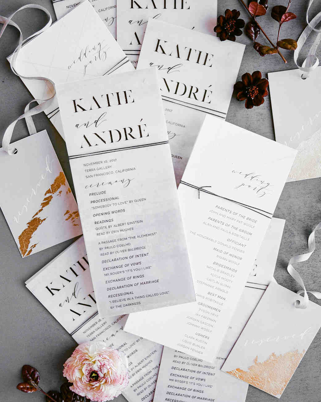 katie andre wedding programs