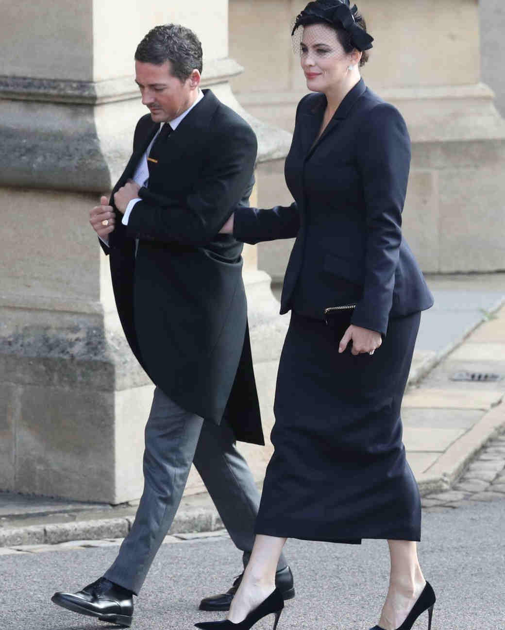 dave gardner and liv tyler arrive at princess eugenies royal wedding