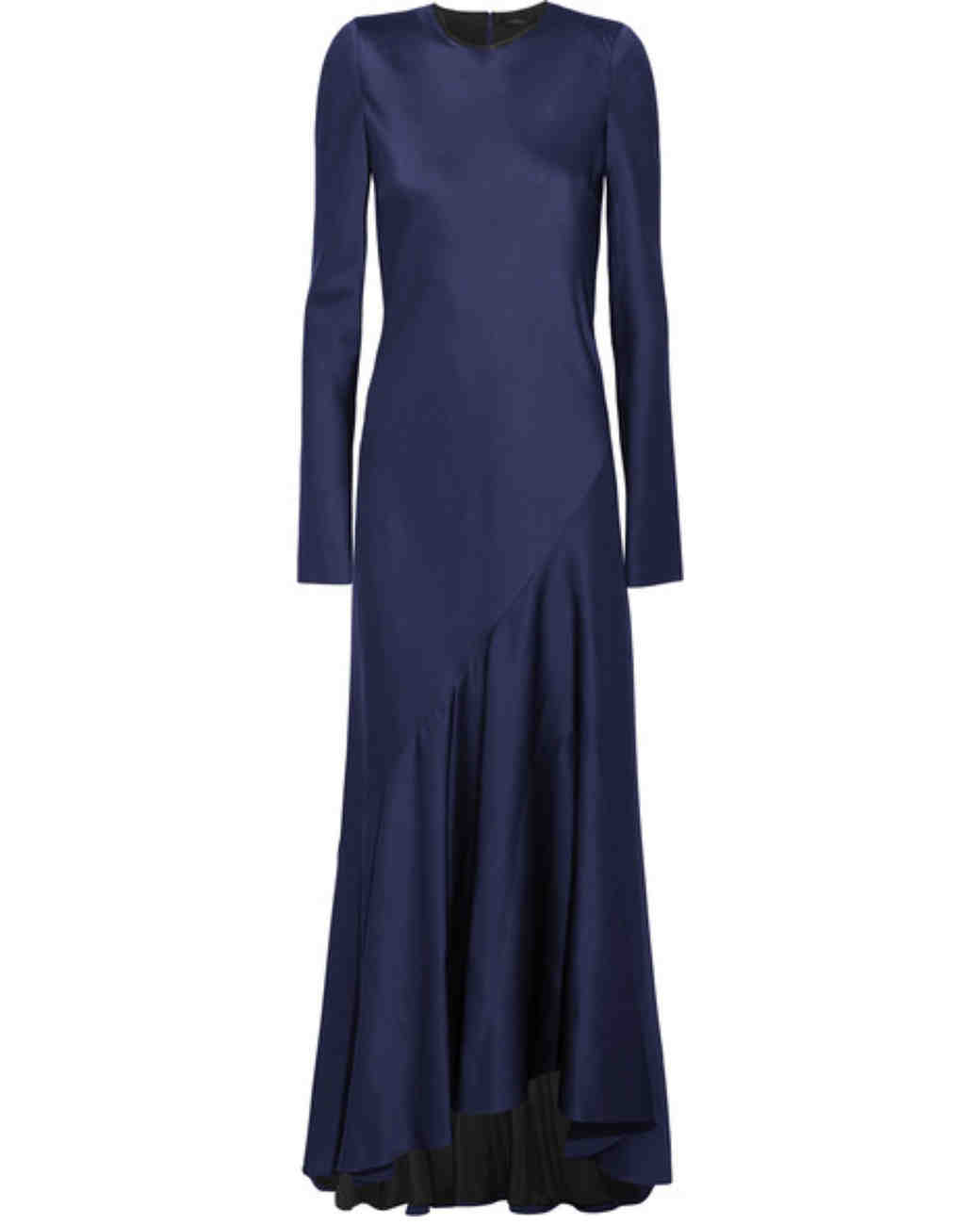 dark blue long sleeve gown