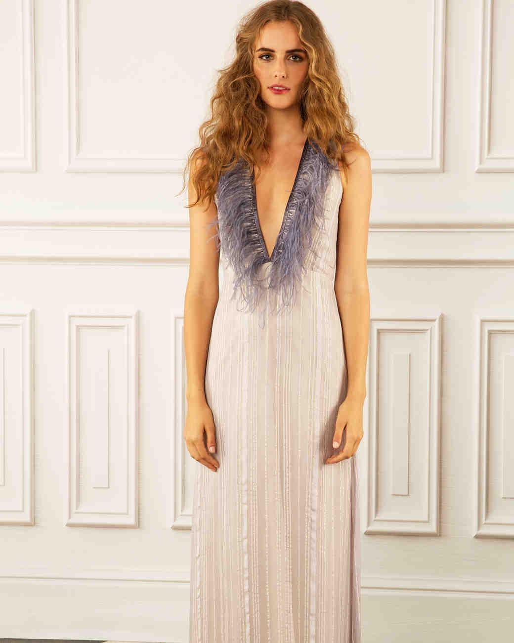 maria korovilas wedding dress spring 2017 deep V feather neckline