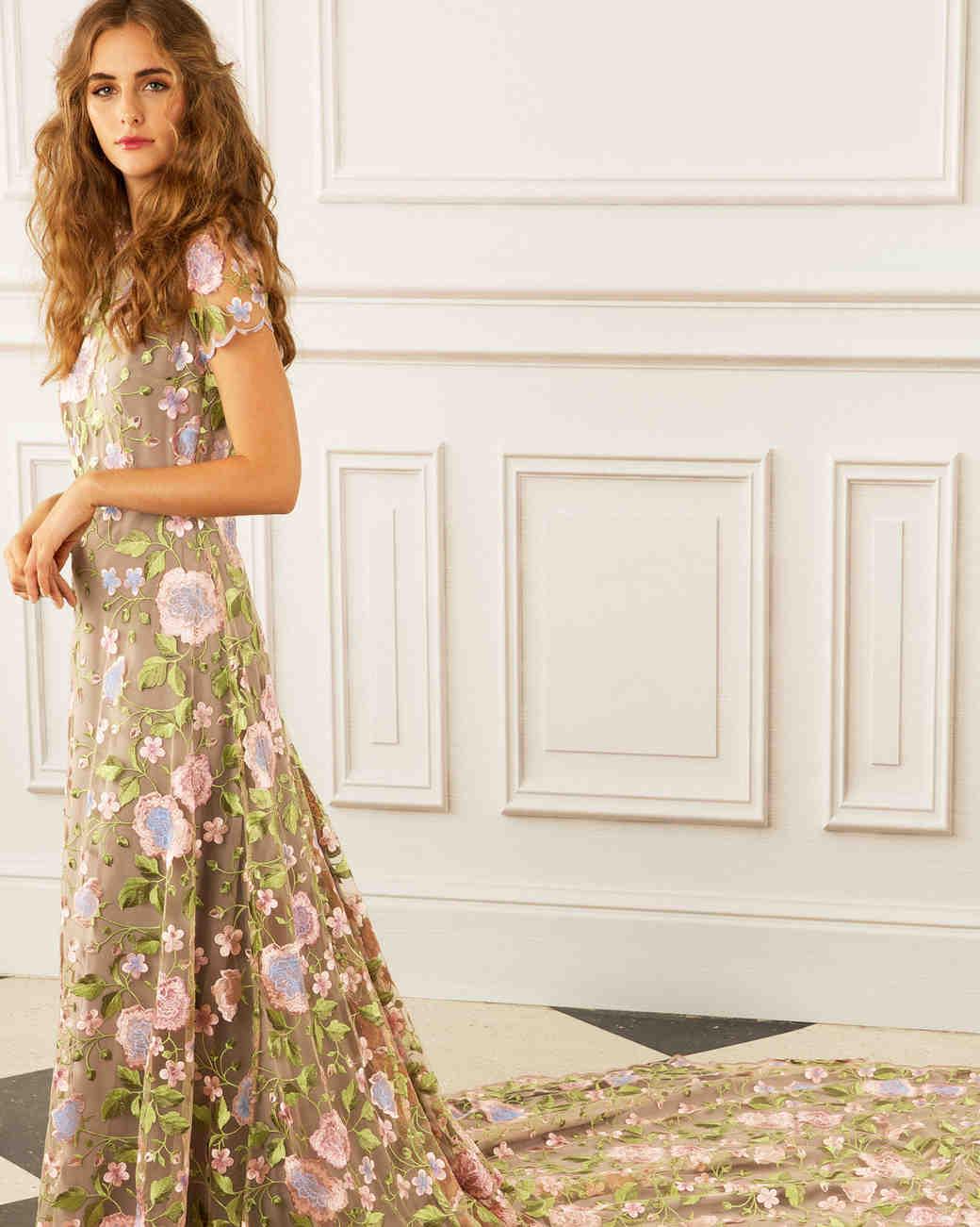 maria korovilas wedding dress spring 2017 short sleeve floral