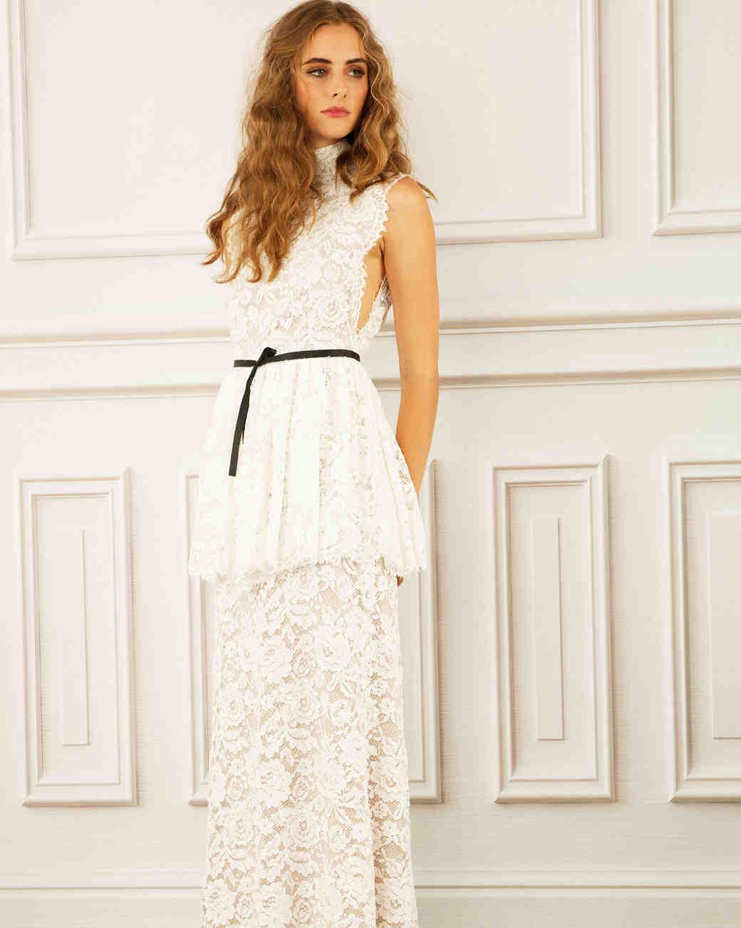 maria korovilas wedding dress spring 2017 lace black belt