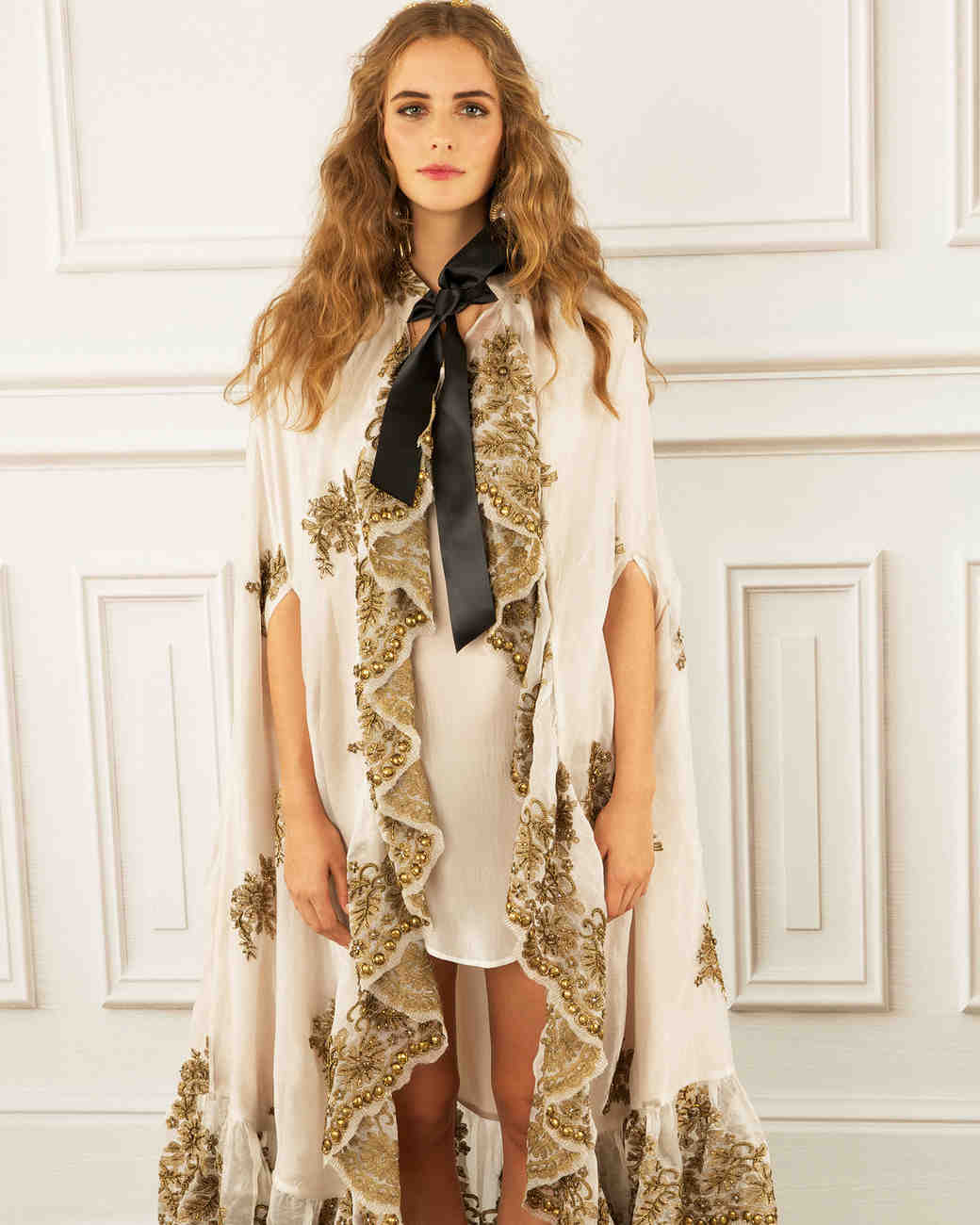 maria korovilas wedding dress spring 2017 loose metallic gold edged black ribbon
