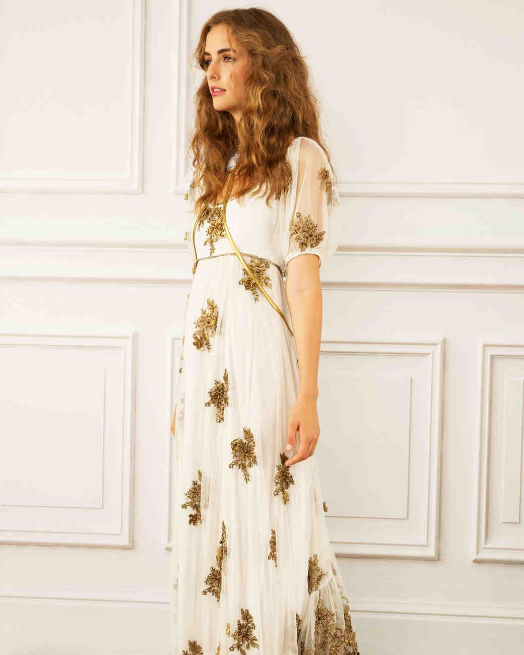 maria korovilas wedding dress spring 2017 long gold metallic short sleeve