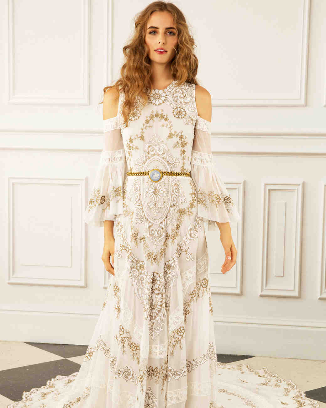 maria korovilas wedding dress spring 2017 shoulder cut out gold